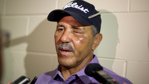 Luis Salazar spoke with members of the media before the Wednesday's Spring Training game.