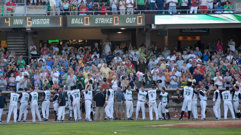 Dragons players and coaches thank fans at Fifth Third Field for another sellout.