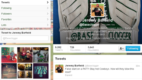 Jeremy Barfield -- @Baseclogger to his fans on Twitter -- got his handle stitched onto his gloves.