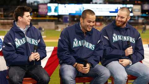 Aaron Goldmith mixes it up with Seattle's Jesus Montero and Blake Beavan.
